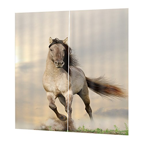 FLAMEER 2 Stück 3D Blickdicht Kräuselband Verdunkelung Schlafzimmer Gardinen Vorhang Duschvorhang - 166x150cm - Laufendes Pferd