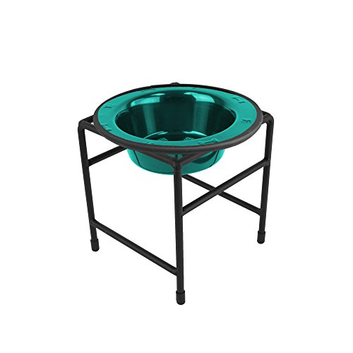 Price comparison product image Platinum Pets Single Diner Feeder with Stainless Steel Cat / Dog Bowl,  1.25 cup / 10 oz,  Caribbean Teal