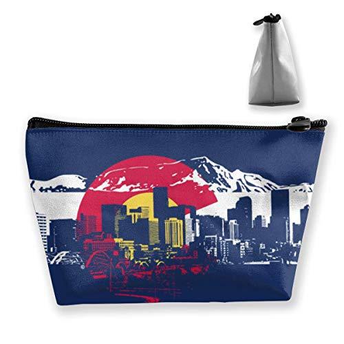 Beau sac de rangement portable pour maquillage Motif drapeau du Colorado Grande capacité