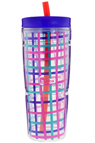 Bubba Envy Travel Thermal Mug, 24 Ounces - Double Wall Insulated With Straw and Handle- Keep Your Favorite Cold Drink at Your Side - Sweat Resistant, Ideal For Travel - Purple