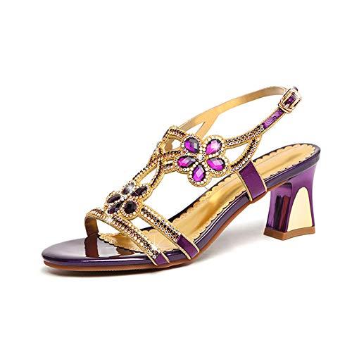 Mujeres's Sandalias,Joya De Lentejuelas De Cristal De Brillo Tacones Gruesos,Rhinestone Zapatos para El Verano Fiesta & Noche Morado 35 EU