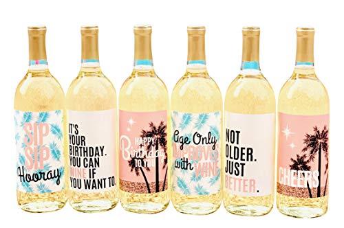 6 Geburtstags-Weinflaschen-Etiketten oder -Aufkleber, Geschenk für Frauen, lustige Party-Dekorationen für Ehefrau, Mädchen, Mutter, perfekt für den 21., 25., 30., 40. oder jeden Geburtstag
