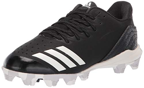 adidas Kids Unisex's Icon 4 MD Cleats Baseball Shoe, Black/Cloud White/Carbon, 12K M US Little Kid