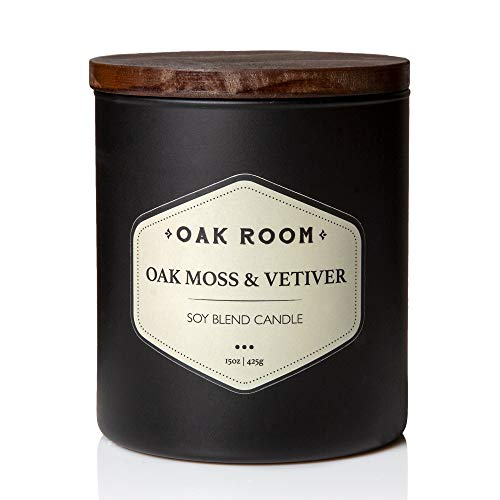 Colonial Candle Oak Room Scented Jar Candle, 15 Oz, Black