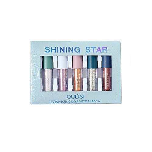 Allbestaye 5pcs Fard à Paupières Liquide Glitter Set Diamond Silver Shimmer Kit de maquillage imperméable à l'eau