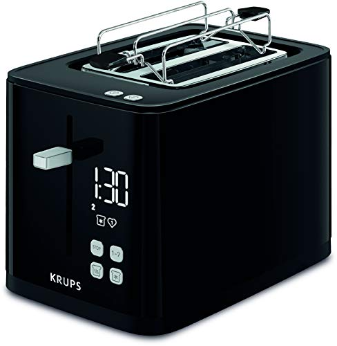 Krups KH6418 Smart'n Light Toaster | Zwei-Scheiben-Toaster | Digitaldisplay | 7 Bräunungsstufen | herausnehmbare Krümelschublade | Countdown | Anhebevorrichtung | Schwarz