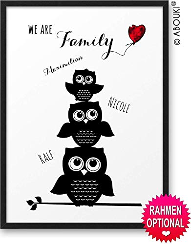 We are Family mit EULEN Motiv ABOUKI® Kunstdruck [ideales Geschenk] - moderne Deko - Design Poster Bild » mit Namen personalisiert « Geschenkidee für die ganze Familie - mit Holz-Rahmen optional