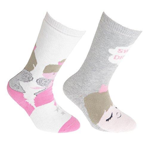 Floso FLOSO® Mädchen Gummistiefel Socken (2 Paar) (27-30 EU) (Creme/Pink)