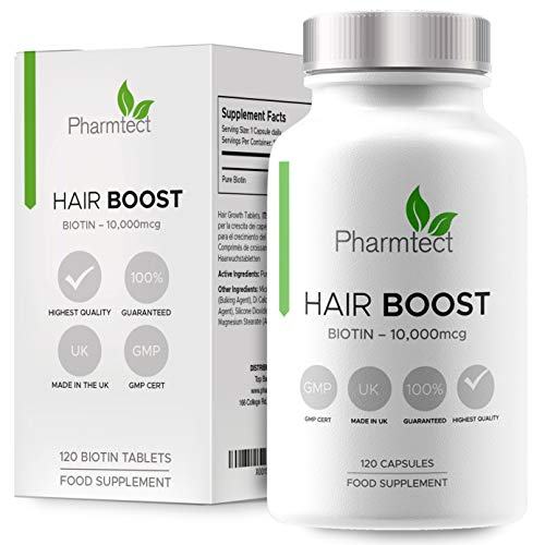 Biotin Hair Growth Supplement 10,000mcg - Enriched with Pure Biotin Hair Vitamins - Maintenance of Normal Hair - 120 Vegan Tablets UK Made by Pharmtect