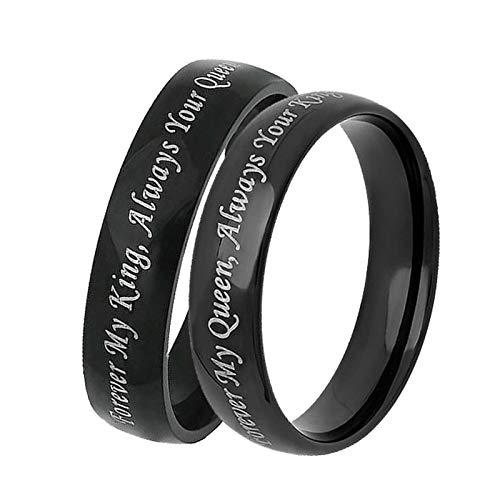 Coniea Verlobungsringe Edelstahl Paar Schwarz Ring Forever My King/Queen Damen Gr.49 (15.6) und Herren Gr.52 (16.6)