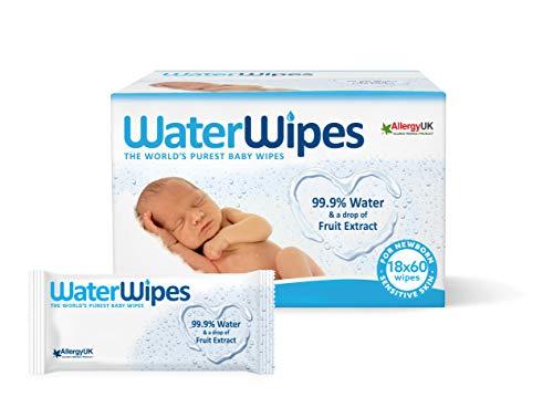 Waterwipes Salviettine Umidificate Per La Pelle Sensibile Dei Bambini, 99,9% Di Acqua Purificata, 18 Confezioni Da 60