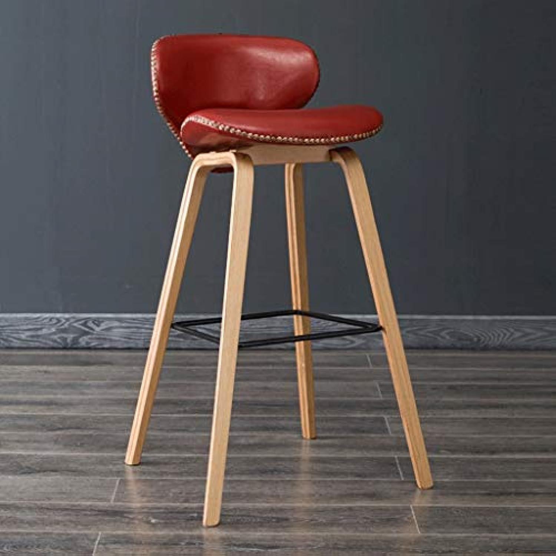DYR Massivholz, Roter Sitzbezug Mbeldekoration Hoher Hocker, Freizeitstuhl, (Farbe  Holzbeine, Gre  H79CM)