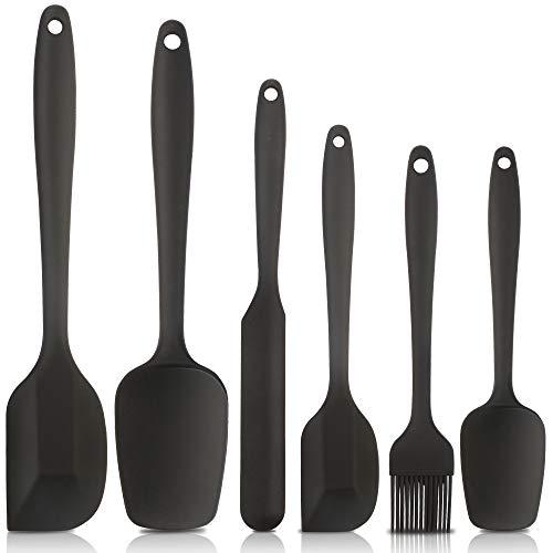 Heat Resistant Silicone Spatulas, Bakeware Set of 6 Non-Stick Ergonomic Cooking Baking Mixing Rubber Spatula Kitchen Utensils, Black