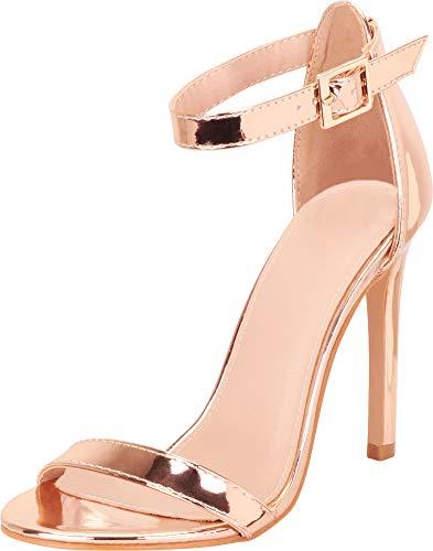 Cambridge Select Women's Classic Single Band Ankle Strap Stiletto High Heel Sandal,7,Rose Gold Pu