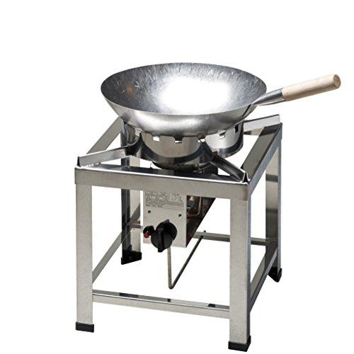 ChattenGlut Professional Hockerkocher HK2000E + Wok Ø 36 cm und Wok-Ring - freistehendes Tischgerät aus Edelstahl mit Brenner - 10kW, regelbar, 400x400x420 mm, incl. Schlauch und Regler 50mbar