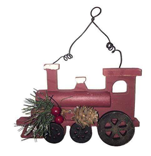 Rustic Wood Train Engine Christmas Ornament, Primitive Farmhouse Holiday Decor