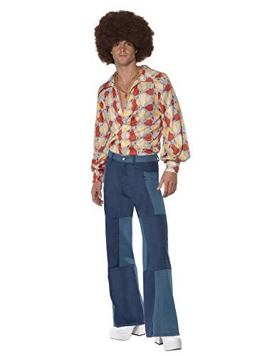 Smiffys Pantaloni da uomo a campana con quadri, effetto jeans Stile anni '1970