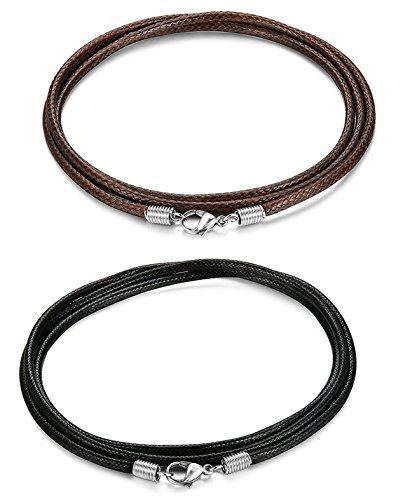sailimue 2 Piezas 2,5 mm Cuero Collares Hombre Mujer Cadena Negro Marrón 46-71 cm