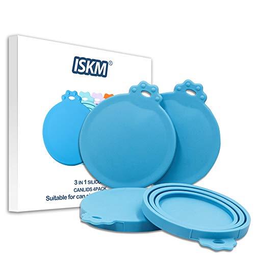ISKM Universal Deckel 4er Pack Futterdosen Hunde und Katzenfutter BPA Frei & FDA Lebensmittelechtem Silikonfrei Spülmaschinenfest, Einheitsgröße für Alle DREI Standardgrößen (4er Pack Blau)