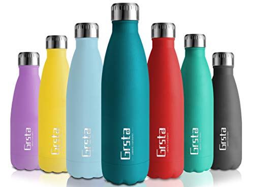 Grsta Botella de Agua, Botella Agua Acero Inoxidable sin BPA 500ml/Musgo Verde...