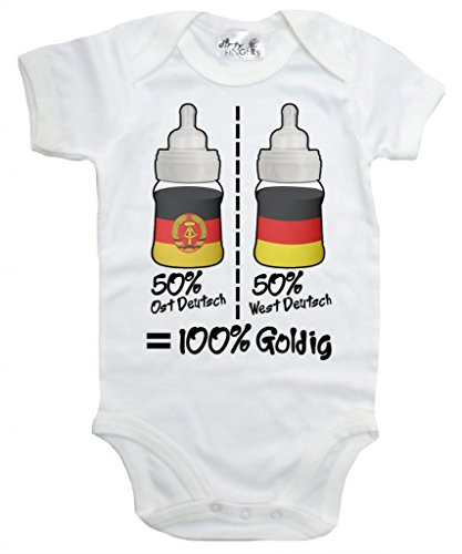 Dirty Fingers, 50% Ost Deutsch, West Deutsch 100% Goldig, Zwei Länder, Body, 6-12m, Weiß