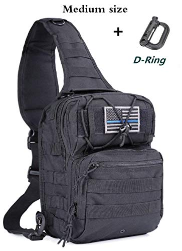 boxuan Tactical Sling Bag Pack Military Rover Shoulder Sling Backpack EDC Molle Assault Range Bags Day Pack with Tactical USA Flag Patch ?Medium & Small Sizes?