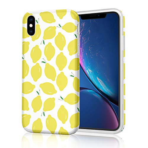 Lovely Protective Raised Edges Scratch Resistant Flexible Soft TPU Glossy Phone Case for iPhone X (2017) and iPhone Xs (2018) - Summer Lemons on White