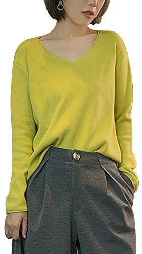 Les umes Damen Pullover mit V-Ausschnitt, locker, leichter Pullover - Gelb - Large