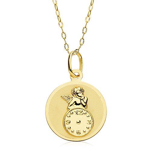 Iyé Biyé Jewels Medalla bebé Reloj y Angel de la Guarda Redonda Oro Amarillo 18 ktes 15mm con Cadena 50cm GRABADA Incluido