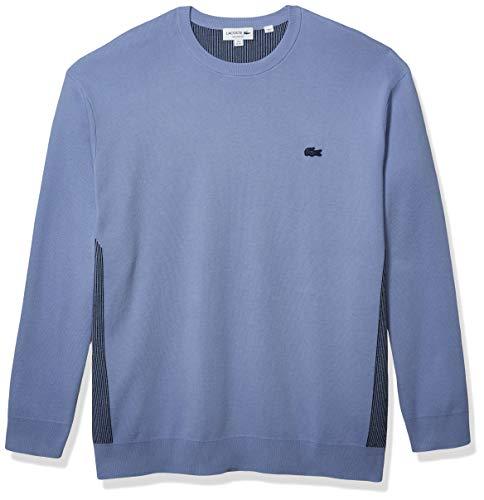 라코스테 남성의 동작 롱 슬리브 정규 적합 컬러블록 스티치 스웨터