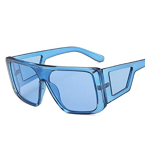 WQZYY&ASDCD Gafas de Sol Gafas De Sol De Gran Tamaño para Hombre Gafas De Sol Cuadradas para Hombre/Mujer Anteojos Vintage-Azulazul