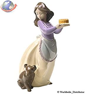 Nao Porcelain by Lladro PUPPY'S BIRTHDAY (SPECIAL EDITION) ( GIRL HOLDING CAKE WITH PUPPY DOG ) 2001700