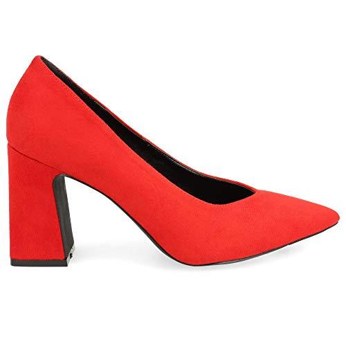 Zapato de Tacon Ancho y Punta Fina, Tipo Salon. Talla 39 Rojo