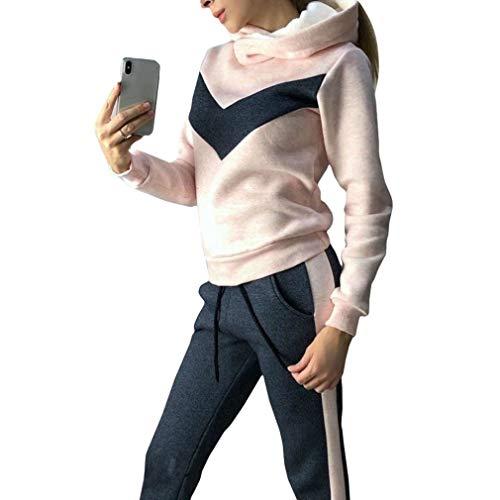 hibote Conjunto de Chándal de Mujer, 2 Pcs Raya Estampada Sportwear Slim Fit...