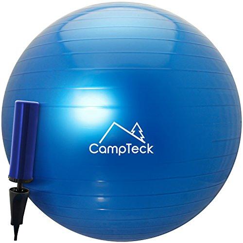 CampTeck U6764 Ballon Suisse de Gym 65cm Ballon d'Exercice avec Pompe a Main Améliorée pour Fitness, Salle de Gym, Yoga, Pilâtes, Crossfit etc. - Convient pour Hommes et Femmes, Bleu