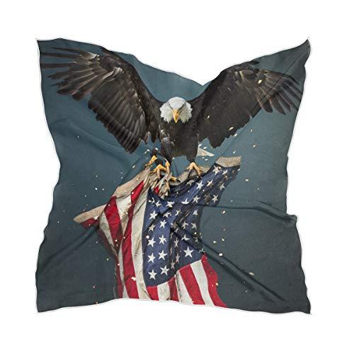 LZXO Damen Schal Amerikanische Flagge Glatze Adler Quadratischer Schal Kopfschmuck Kopftuch Kopftuch Kopftuch Kopftuch Stirnband mit 10 x Bobby Pins – 60 x 60 cm