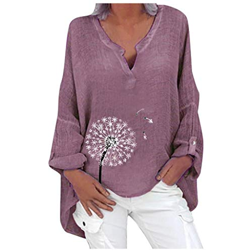 YAnGSale Cotton Linen Casual Tops Blouses for Women Plus Size T-Shirts Long Sleeve Sweatshirts Floral Print Loose Shirt V-Neck Pullover (Purple, M)