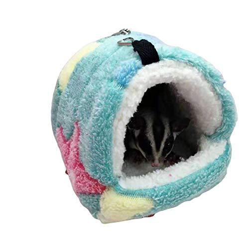 GYYOU Casa suave para hámsters, cobayas, nido cálido para dormir para animales pequeños, invierno, cómoda casa de peluche, cueva para mascotas, accesorios, 17 x 15 cm, color verde estrella de mar