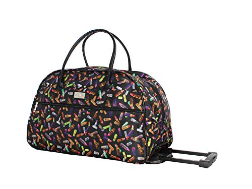 Nicole Miller Designer Carry On Luggage Collection - Lightweight Pattern 22 Inch Duffel Bag- Weekender Overnight Business Travel Suitcase with 2- Rolling Spinner Wheels (Lipstick)