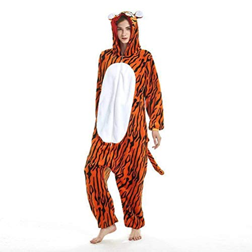 Unisex pyjama volwassen dier Onesies Tijger Cartoon eendelige pyjama winter flanel pyjama nachtjapon, JUSTTIME M Zoals getoond
