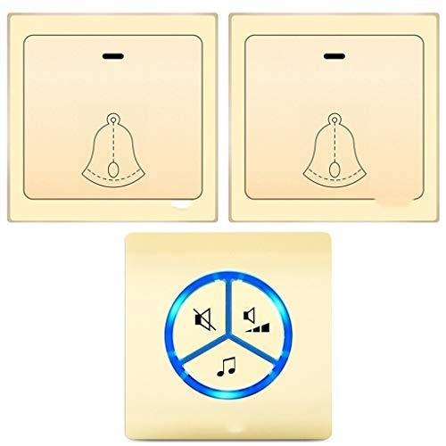 Xinxinchaoshi Kabelloses Türklingel-Kit mit 25 Melody 4-Stufen-Lautstärke und LED-Blitztaste Selbststromerzeugung Keine Batterie erforderlich Energieeinsparung und Umweltschutz (Color : Gold-e)
