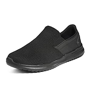 Bruno Marc Men's Slip On Walking Sneaker Shoes Lightweight Work Shoe Casual Loafer Walk-Work-02 Black Size 10 M US