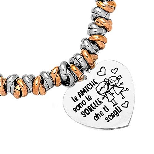 Beloved Bracciale da donna, braccialetto in acciaio emozionale con nodini - frasi, pensieri, parole con charms - ciondolo pendente - misura regolabile - incisione (MOD. 3, Silver e Rose gold)