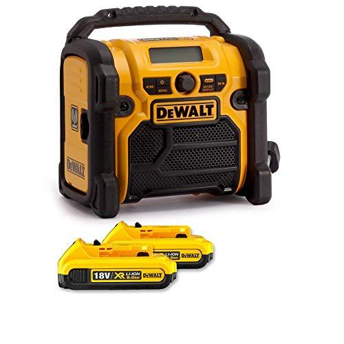 DeWALT DCR020 240V DAB FM Jobsite Digital Radio with 2 x 2Ah Batteries