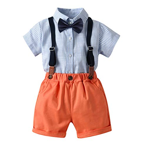 Julhold - Conjunto de ropa de manga corta y pantalones cortos de algodón con tirantes para bebé, de 0 a 5 años Naranja naranja 6-12 Meses