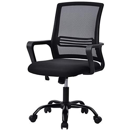 Pannow Silla de oficina, silla de escritorio de malla ergonómica con función de inclinación ajustable de altura, silla de computadora para oficina en casa (negro)