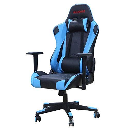 WSDSX Ergonomischer Gaming-Stuhl, PU-Lederschalensitz Racing Office Desk Computer-Stühle mit Lordosenstütze, 150 kg tragend-blau