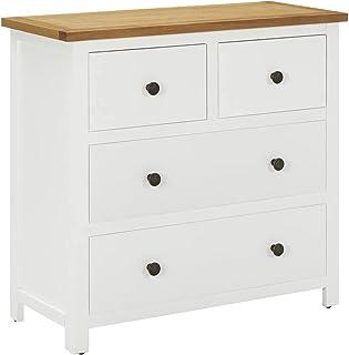 vidaXL Solid Oak Wood Chest of Drawers Living Room Wooden Sideboard Bedroom Storage Cabinet Home Freestanding Organiser Un...