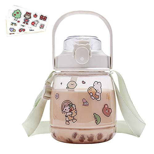 Botella de agua con paja, diseño animado para niños, 1000 l/1500 ml, gran capacidad, vaso para botellas, vaso de viaje impermeable con correa