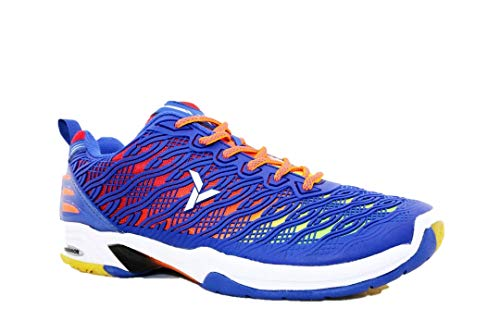 Young Professional Badminton Court Shoes Non-Marking Rubber Outsole (6, Deep Blue)